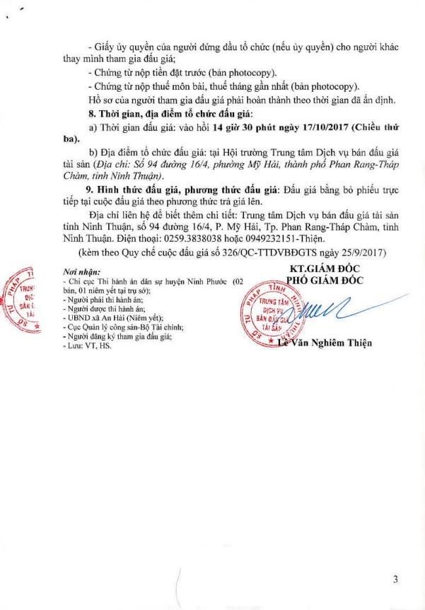 Đấu giá quyền sử dụng đất, quyền sở hữu nhà và TSGLVĐ tại huyện Ninh Phước, Ninh Thuận - ảnh 3
