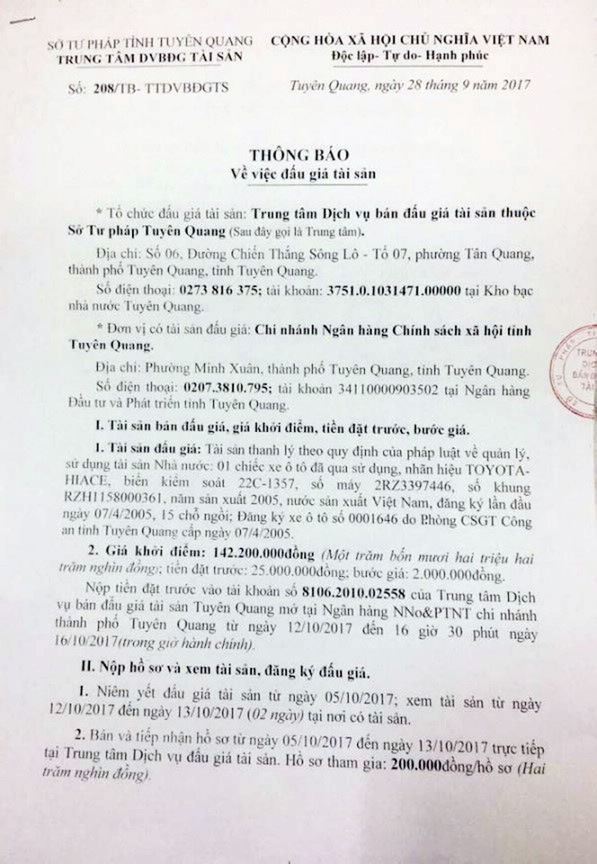 Đấu giá xe ô tô đã qua sử dụng tại Tuyên Quang - ảnh 1