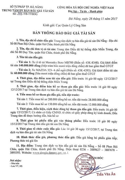 Đấu giá xe ô tô tại thành phố Đà Nẵng - ảnh 1