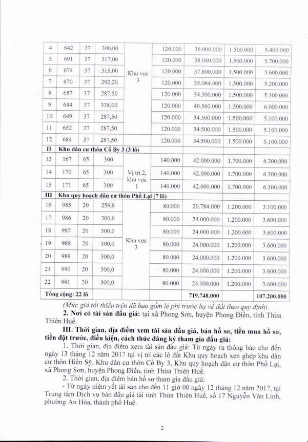 Đấu giá quyền sử dụng đất tại huyện Phong Điền, Thừa Thiên Huế - ảnh 2