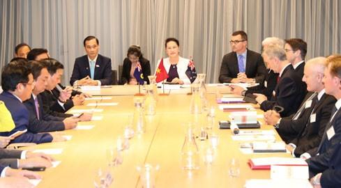 Chủ tịch Quốc hội Nguyễn Thị Kim Ngân dự đối thoại doanh nghiệp Việt Nam-Australia. Ảnh: Đại biểu nhân dân