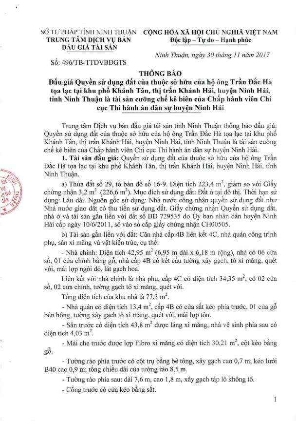 Đấu giá quyền sử dụng đất tại huyện Ninh Hải, Ninh Thuận - ảnh 1