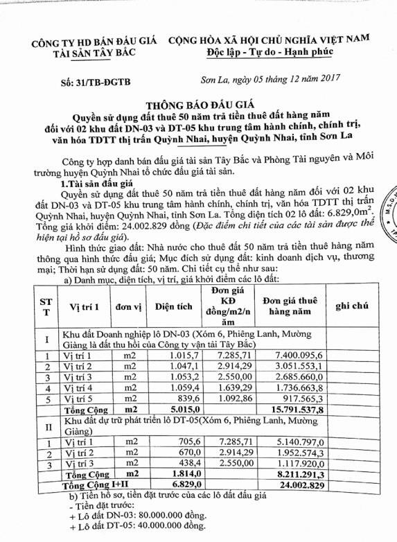Đấu giá quyền sử dụng đất tại huyện Quỳnh Nhai, Sơn La - ảnh 1