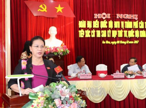 Chủ tịch Quốc hội Nguyễn Thị Kim Ngân phát biểu tại Hội nghị. Ảnh: TTXVN