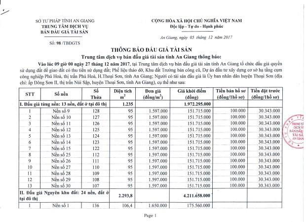 Đấu giá quyền sử dụng đất tại huyện Thoại Sơn, An Giang - ảnh 1