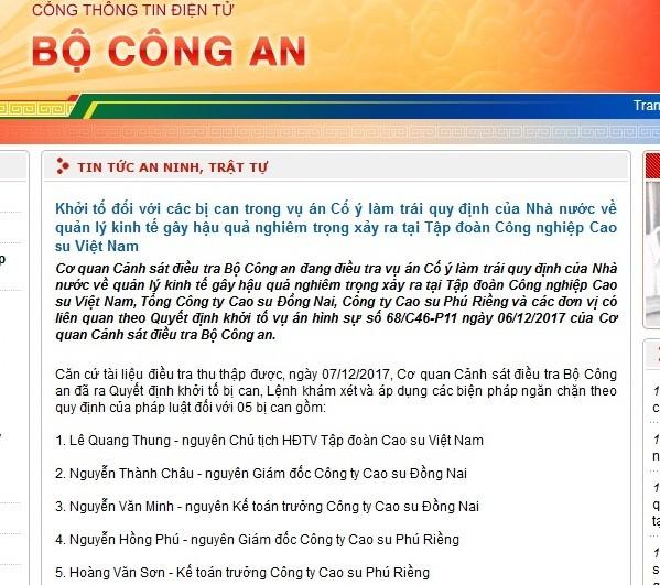 Khởi tố nguyên Chủ tịch HĐTV Tập đoàn Cao su Việt Nam