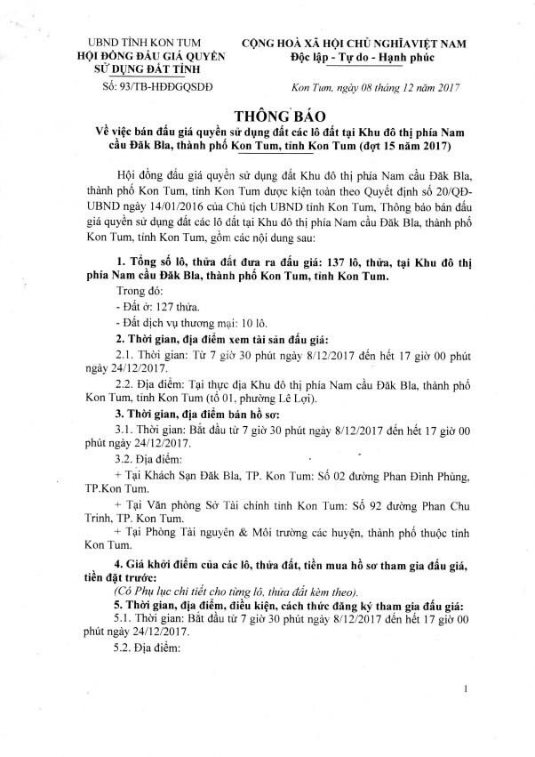 Đấu giá quyền sử dụng đất tại TP. Kon Tum, Kon Tum - ảnh 1