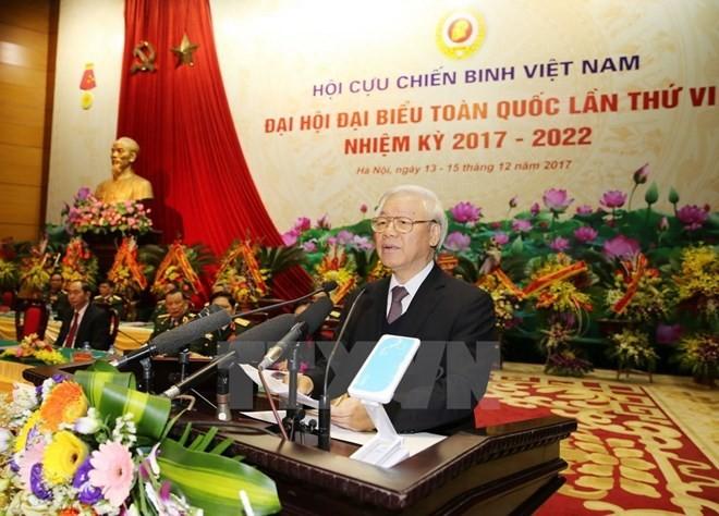 Tổng Bí thư Nguyễn Phú Trọng, Bí thư Quân ủy Trung ương phát biểu tại Đại hội Đại biểu toàn quốc Hội Cựu chiến binh Việt Nam. Ảnh: TTXVN