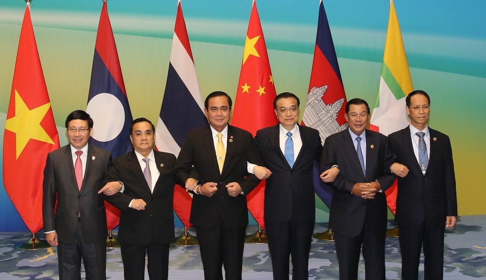 Lãnh đạo các nước Campuchia, Lào, Myanmar, Thái Lan, Trung Quốc và Việt Nam tham dự Hội nghị Cấp cao hợp tác Mekong-Lan Thương lần thứ nhất. Ảnh: VGP