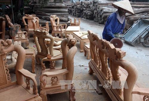 Sản xuất đồ gỗ mỹ nghệ cao cấp cung ứng cho thị trường trong nước và xuất khẩu tại một doanh nghiệp ở huyện Thường Tín (Hà Nội). Ảnh: TTXVN