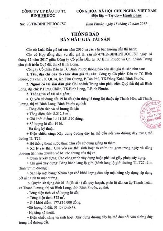Đấu giá quyền sử dụng đất tại thị xã Bình Long, Bình Phước - ảnh 1