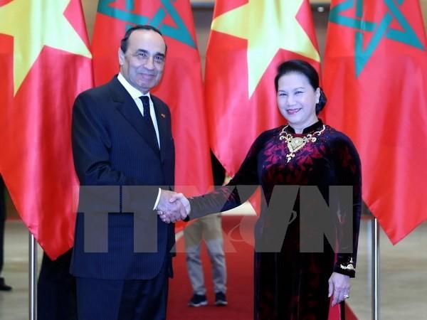 Chủ tịch Quốc hội Nguyễn Thị Kim Ngân đón Chủ tịch Hạ viện Vương quốc Ma rốc Habib El Malki. Ảnh: TTXVN