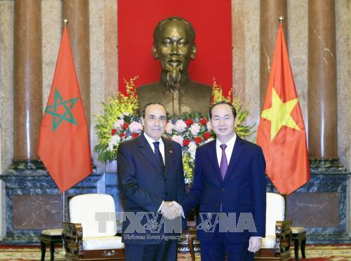 Chủ tịch nước Trần Đại Quang tiếp Chủ tịch Hạ viện Vương quốc Maroc Habib El Malki đang thăm chính thức Việt Nam. Ảnh: TTXVN
