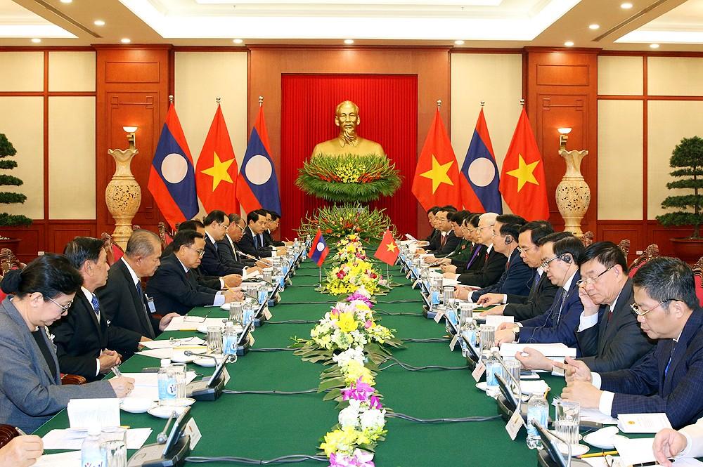 Tổng Bí thư Nguyễn Phú Trọng hội đàm với Tổng Bí thư, Chủ tịch nước Lào Bounnhang Vorachith tại Trụ sở Trung ương Đảng.Ảnh: VGP
