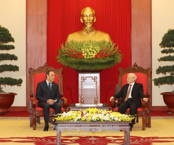 Tổng Bí thư Nguyễn Phú Trọng tiếp Chủ tịch Hạ viện Morocco. Ảnh: TTXVN