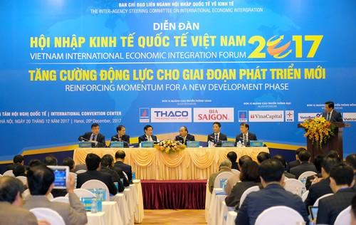 Thủ tướng Nguyễn Xuân Phúc, Trưởng Ban Chỉ đạo quốc gia về hội nhập quốc tế dự Diễn đàn. Ảnh: VGP