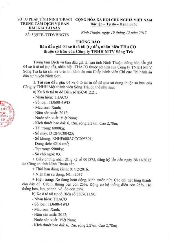 Đấu giá lô xe ô tô tải tự đổ tại Ninh Thuận    - ảnh 1