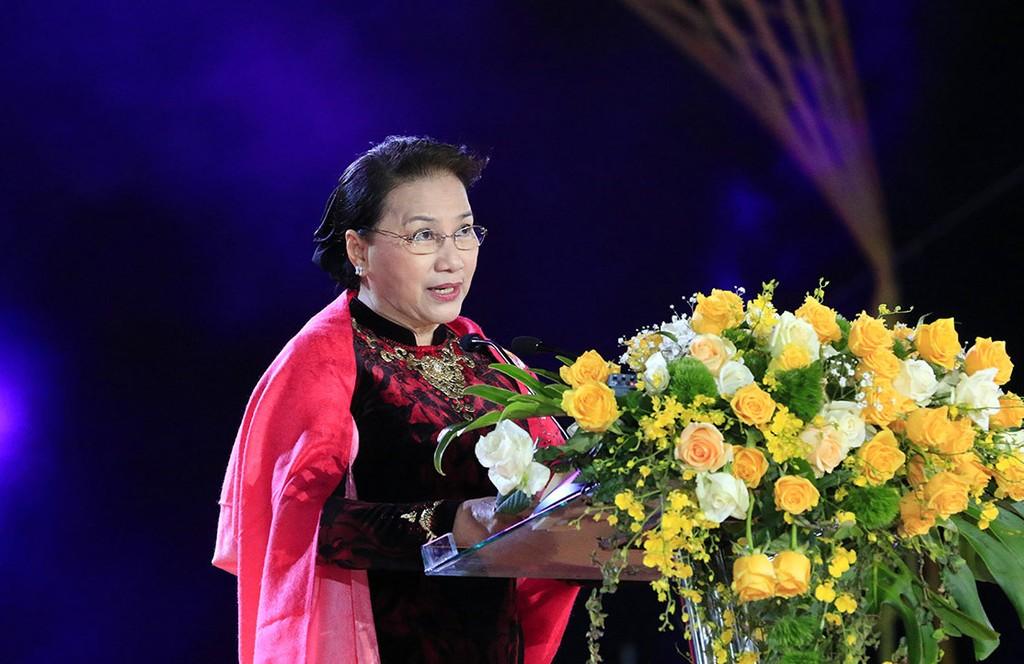 Chủ tịch Quốc hội Nguyễn Thị Kim Ngân phát biểu tại lễ khai mạc. Ảnh: VGP