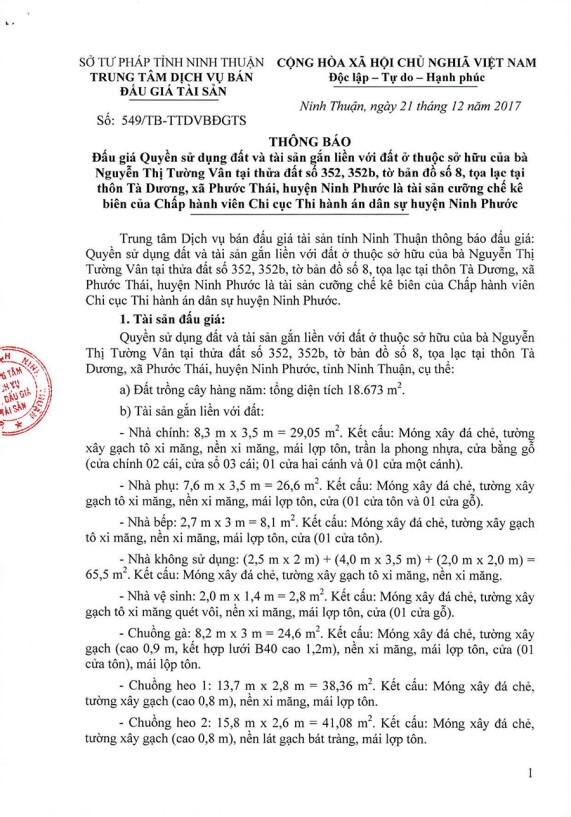 Đấu giá quyền sử dụng đất và TSGLVĐ tại huyện Ninh Phước, Ninh Thuận - ảnh 1