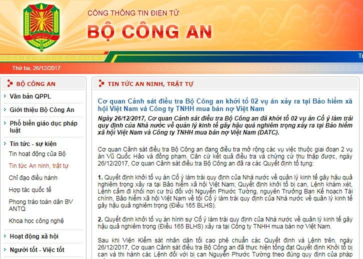 Cơ quan Cảnh sát điều tra Bộ Công an khởi tố 02 vụ án xảy ra tại Bảo hiểm xã hội Việt Nam và DATC