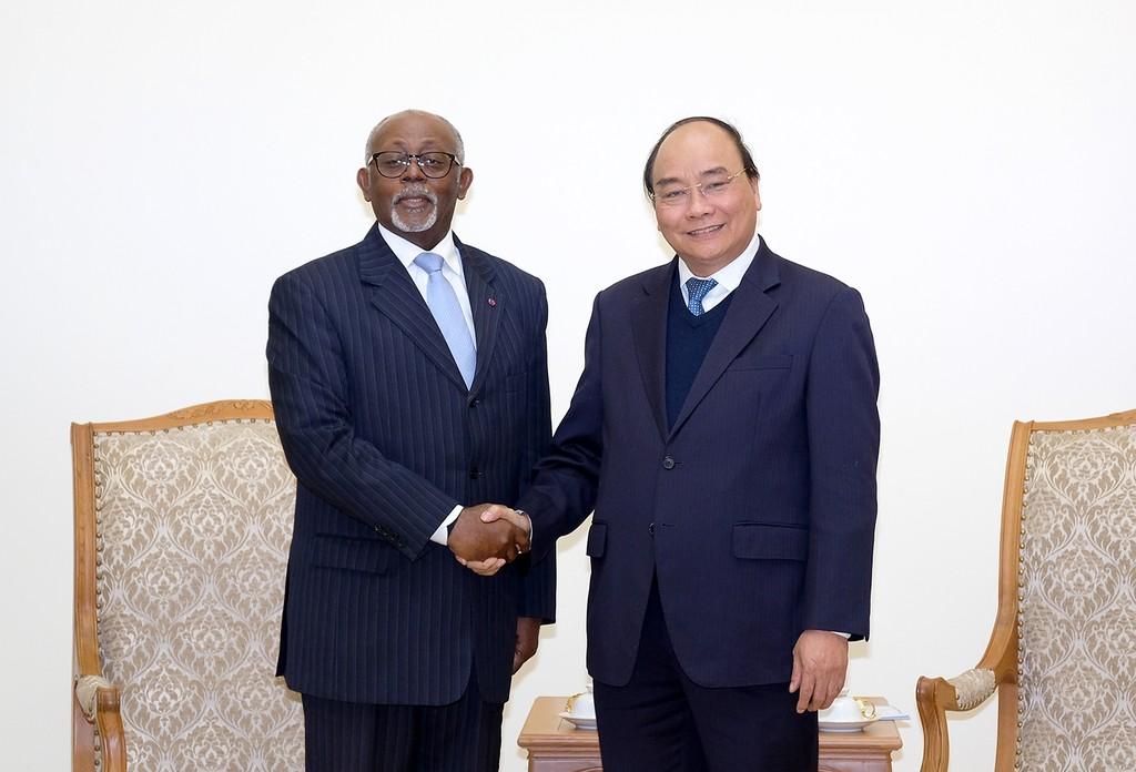 Thủ tướng Nguyễn Xuân Phúc tiếp Bộ trưởng Ngoại giao Cộng hòa Cameroon Lejeune Mbela Mbela. Ảnh: VGP