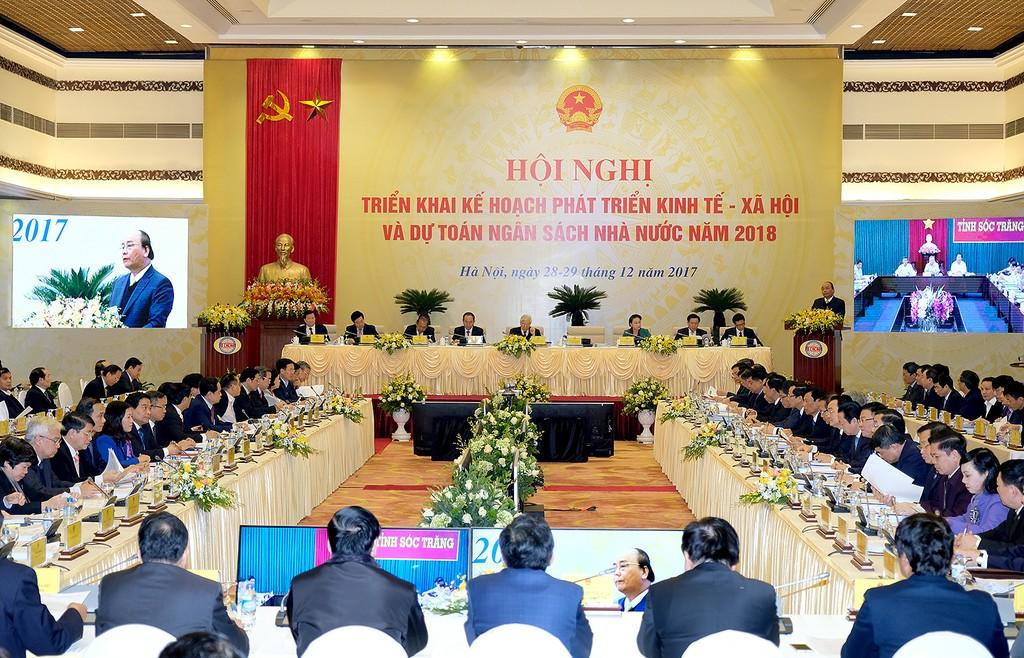 Hội nghị triển khai Kế hoạch phát triển KT-XH và dự toán NSNN năm 2018. Ảnh Quang Hiếu