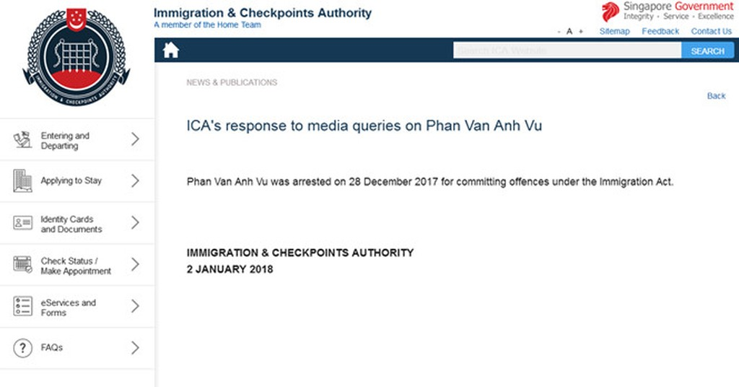 Thông báo của Cục Di trú Singapore về trường hợp bắt giữ người tên Phan Van Anh Vu
