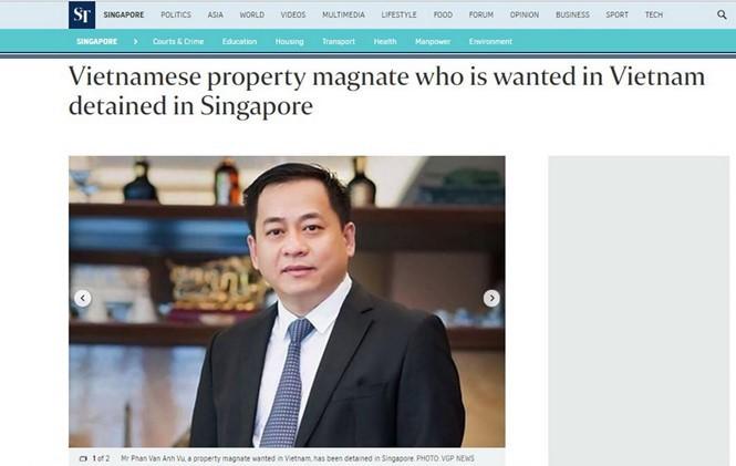 Hình ảnh Phan Van Anh Vu trên tờ The Straits Times