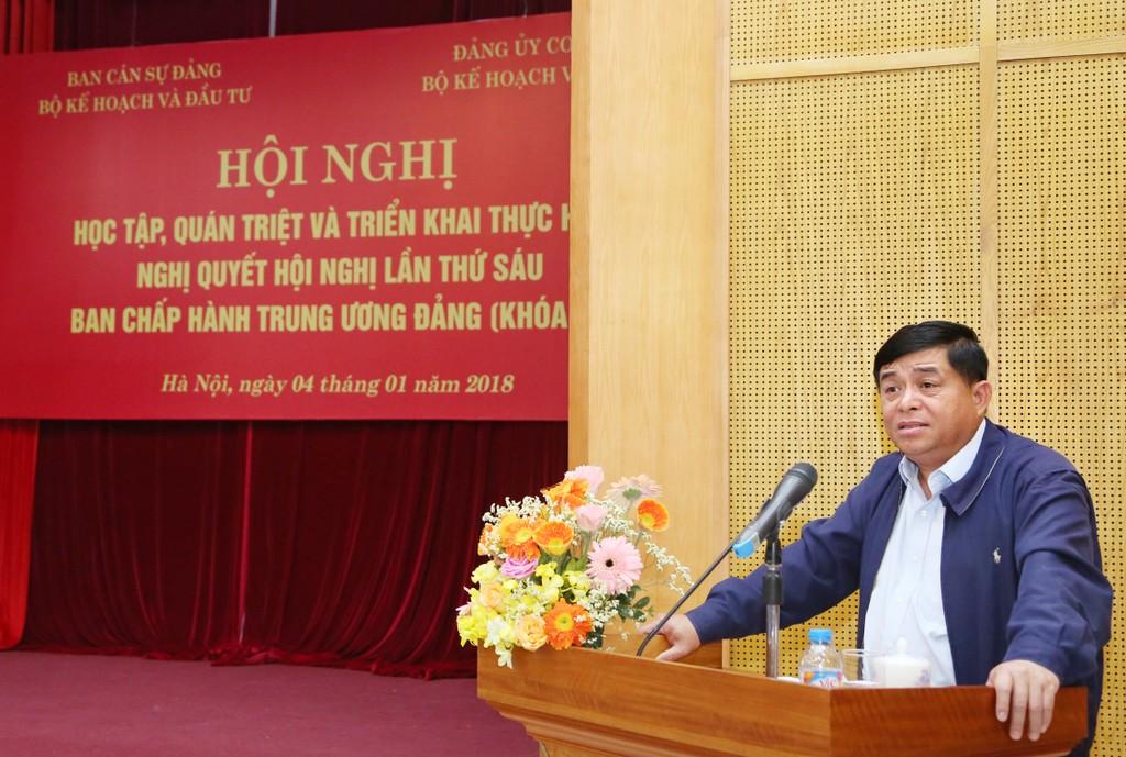 Bộ trưởng Bộ KH&ĐT Nguyễn Chí Dũng phát biểu tại hội nghị. Ảnh: Lê Tiên