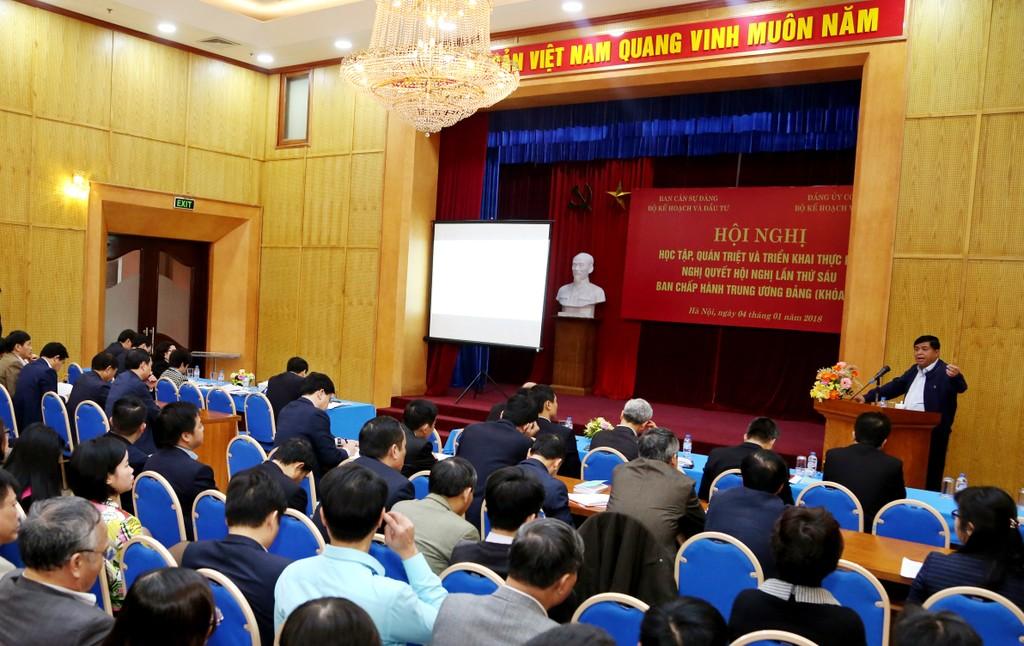 Bộ KH&ĐT tổ chức Hội nghị học tập, quán triệt và triển khai thực hiện Nghị quyết TW6 - ảnh 1