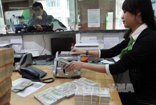 Khách hàng giao dịch tại Hội sở ngân hàng Vietcombank. Ảnh: TTXVN