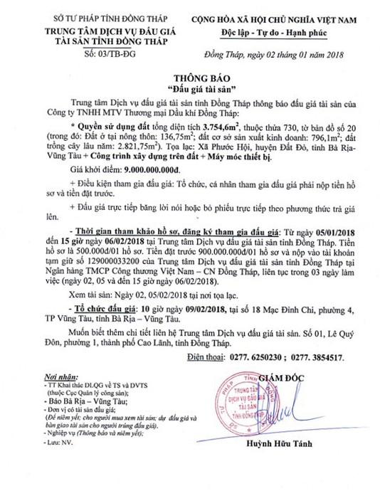 Đấu giá quyền sử dụng đất, CTXD và máy móc thiết bị tại huyện Đất Đỏ, Bà Rịa-Vũng Tàu - ảnh 1