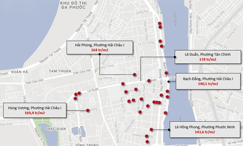 """Bản đồ 31 nhà công sản tại Đà Nẵng liên quan đến Vũ """"Nhôm"""", do Gachvang thực hiện, trong đó một số địa chỉ liền kề nhau được gộp lại, hiển thị chung bằng một chấm đỏ."""