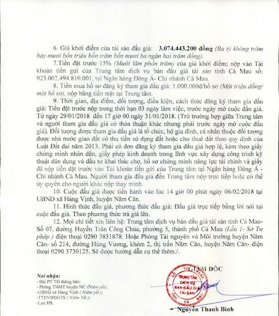 Đấu giá quyền sử dụng đất tại huyện Năm Căn, Cà Mau - ảnh 2