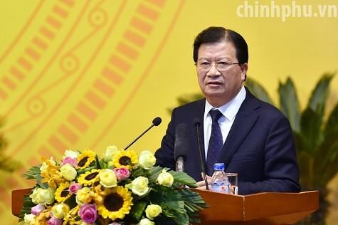 Phó Thủ tướng Trịnh Đình Dũng phát biểu tại hội nghị. Ảnh: VGP