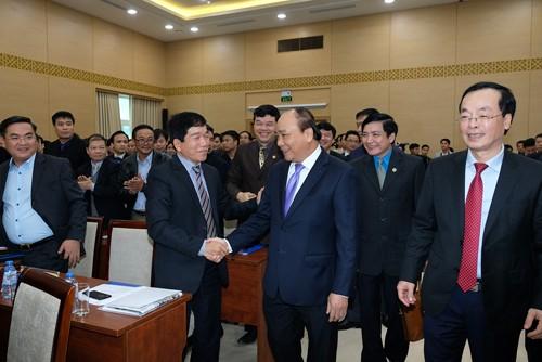 Thủ tướng Nguyễn Xuân Phúc dự hội nghị triển khai kế hoạch năm 2018 ngành Xây dựng. - Ảnh: VGP