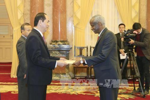 Đại sứ Cộng hòa Sudan Mohamed Elmurtada Mubarak Ismail trình Quốc thư lên Chủ tịch nước Trần Đại Quang. Ảnh: TTXVN