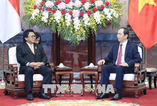 Chủ tịch nước Trần Đại Quang tiếp Chủ tịch Thượng viện Indonesia. Ảnh: TTXVN