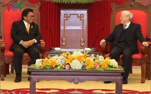 Tổng Bí thư Nguyễn Phú Trọng tiếp Chủ tịch Thượng viện Indonesia. Ảnh: VOV