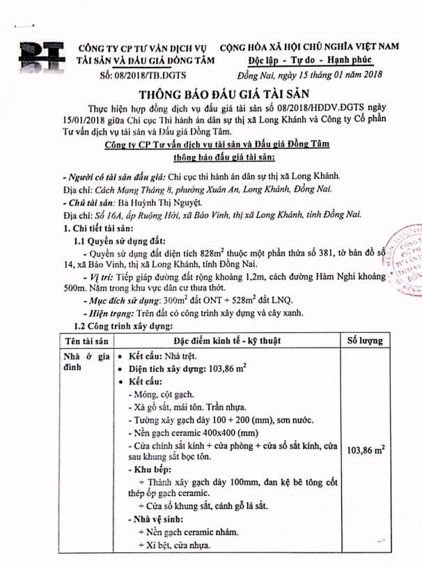 Đấu giá quyền sử dụng đất và CTXD tại TX.Long Khánh, Đồng Nai - ảnh 1