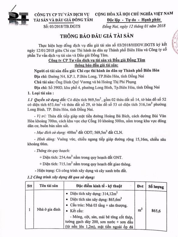 Đấu giá quyền sử dụng đất và CTXD tại TP.Biên Hòa, Đồng Nai - ảnh 1