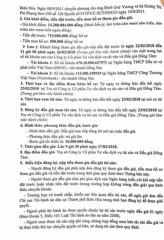 Đấu giá quyền sử dụng đất và CTXD tại TP.Biên Hòa, Đồng Nai - ảnh 4