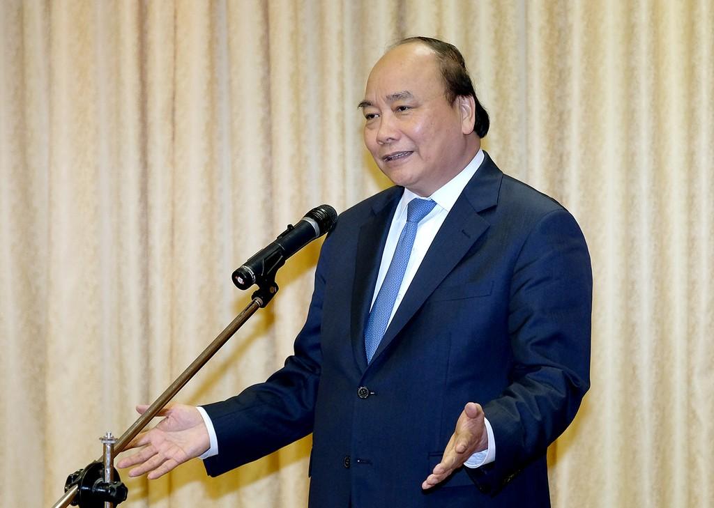 Thủ tướng Nguyễn Xuân Phúc phát biểu tại buổi gặp mặt - Ảnh: VGP