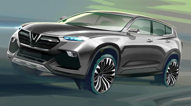 Phác thảo mẫu xe SUV sẽ được Vinfast phát triển thành xe mẫu ra mắt thi trường vào tháng 10/2018