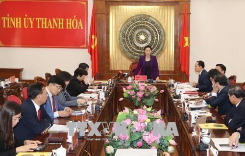 Chủ tịch Quốc hội Nguyễn Thị Kim Ngân làm việc với lãnh đạo Tỉnh ủy Thanh Hóa. Ảnh: TTXVN