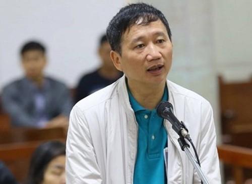 Bị cáo Trịnh Xuân Thanh trong phiên tòa chiều 25/1. Ảnh: TTXVN