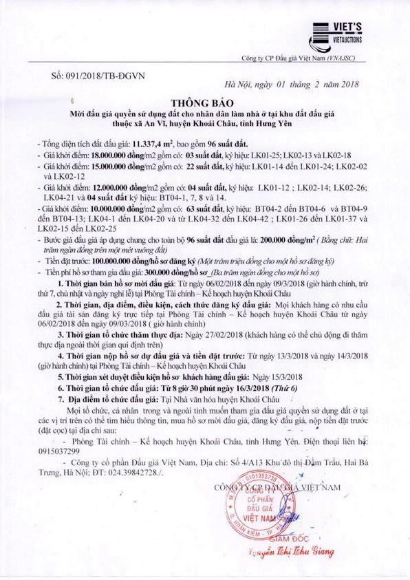 Đấu giá quyền sử dụng đất tại huyện Khoái Châu, Hưng Yên - ảnh 1