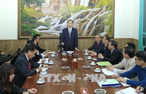 Chủ tịch nước Trần Đại Quang làm việc với Văn phòng Thường trực Ban Chỉ đạo Cải cách tư pháp Trung ương. Ảnh: TTXVN