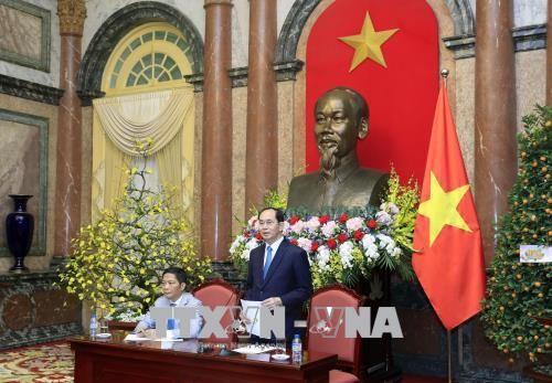Chủ tịch nước Trần Đại Quang phát biểu tại buổi gặp mặt. Ảnh: TTXVN