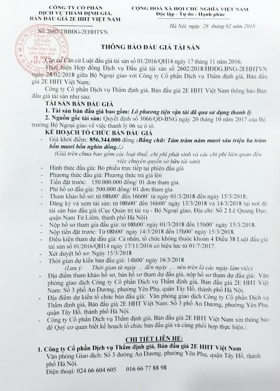 Đấu giá lô phương tiện vận tải đã qua sử dụng thanh lý tại Hà Nội - ảnh 1